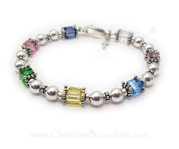 Easter Bracelet for Moms, Grandmas and Girls with a cross charm