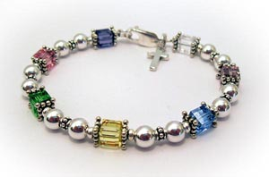Easter Bracelet with Pastel Swarovski Crystals and Sterling Silver Cross Charm