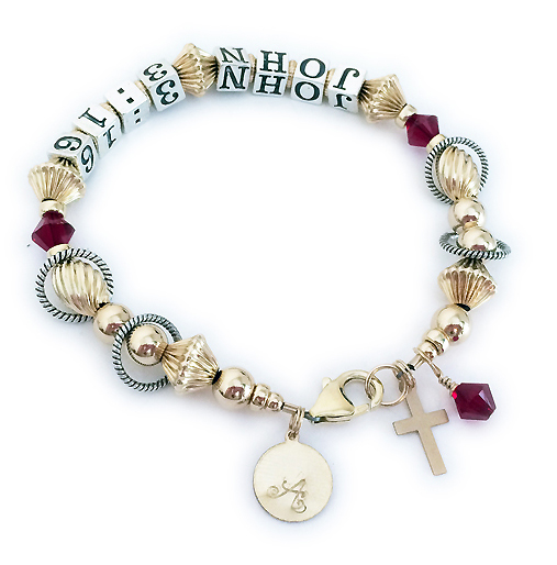 Gold & Sterling Silver Bible Verse Braclet - JOHN 3:16 shown with red Swarovski Crystals - BVB-07