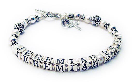 Sterling Silver, Bali and Pearl Bible Verse Bracelet BVB-03