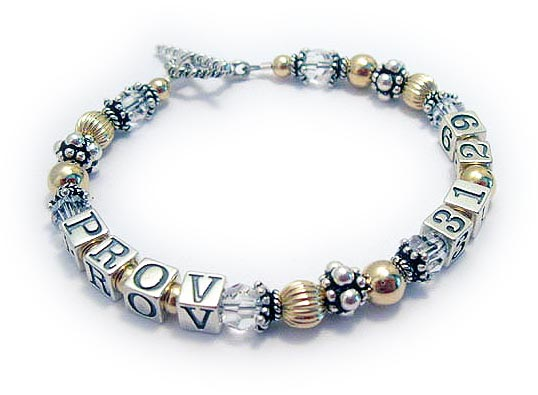 Proverbs bracdelet - Gold, Sterling Silver, Swarovski Crystals and Bali - BVB-03