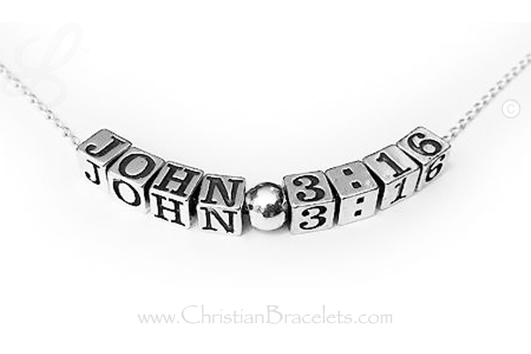 Sterling silver necklace that says JOHN 3:16 CB-N-Rolo4.5