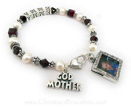 This sterling silver and Swarovski crytal and Pearl Godmother bracelet has EMMA writtten on it and the Godchild's birthstone crystals. Garent or January Birthstone Crystals are shown. This bracelet is shown with an upgraded Heart Lobster Claw clasp. The GODMOTHER charm is included in the price. They added a Square Textured Picture Frame charm. You can put a picture in the front and the back of this charm. I would be happy to put the pictures in for you, just email me after you place your order. (It is easy to do it yourself too).