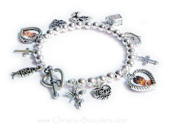 CB-CB10 This Sterling Charm Bracelet is shown with 11 sterling charms and an add-on heavy heart toggle clasp. Charms shown; Angel with wings, Mom filigree, Heart Picture Frame, Fancy Cross, Heart in a Heart, Prayer Box, Peace Dove, Love Filigree, Heart Picture Frame, Simple Cross.