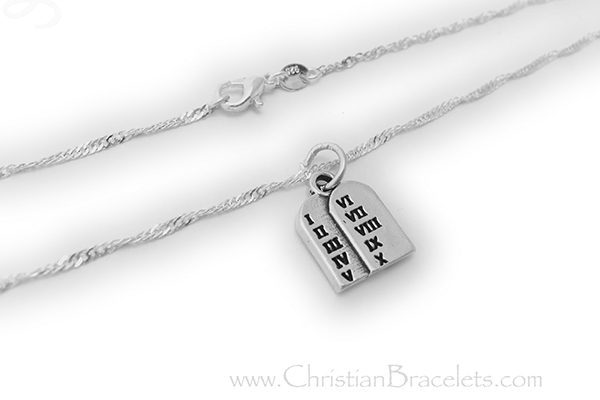 Sterling Silver 10 Commandments Charm Necklace