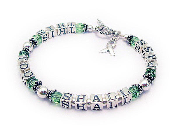This Too Shall Pass Bracelet with Peridot Swarovski Crystals, a Twisted Toggle clasp and a Ribbon Charm.