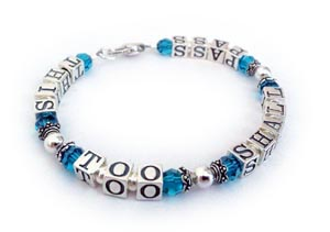 This Too Shall Pass message bracelet with teal swarovski crystals