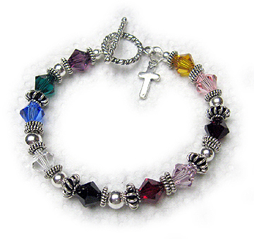 "CB-Psalm 24  A 7 1/2"" Psalm 24 Bracelet is shown with a Twisted Toggle Clasp. They added a Simple Cross Charm to their cart."