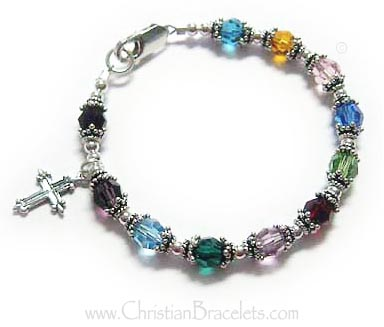 "This Rosary Bracelet is a size 6 1/2""  *Shown with a smaller sterling silver cross charm: Fancy Cross"""