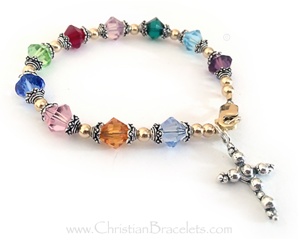 Large Rosary Bracelet with Beaded Cross Charm - CB-Rosary-6