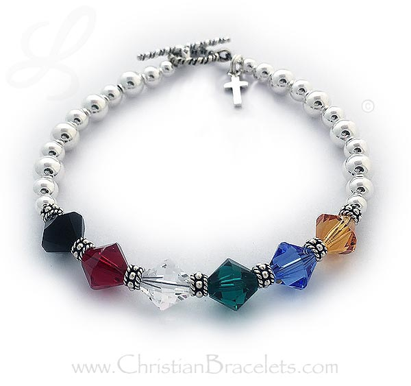 Sterling silver salvation bracelet with a cross charm
