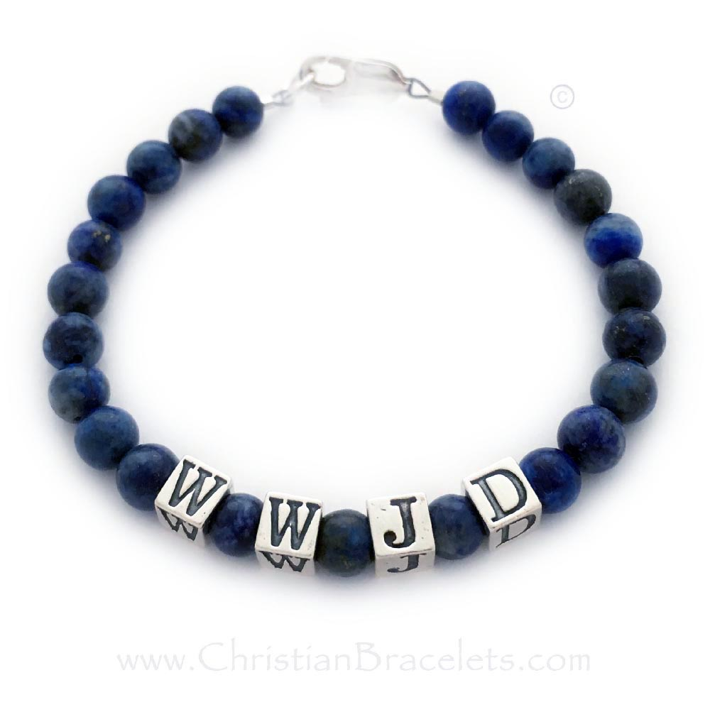 Lapis Lazuli WWJD or What Would Jesus Do Bracelet with a Sterling Silver Lobster Claw Clasp - CB-WWJD-2