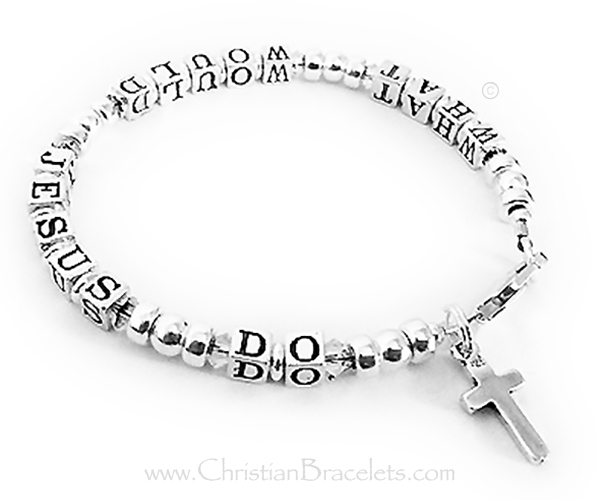 CB - WWJD6 - Sterling Silver (Shown with CLEAR (April) Crystals)