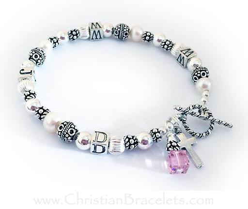 Pearl What would Jesus do bracelet - wwjd bracelet with off-white Pearls