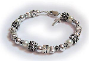 Pearl and Bali style What Would Jesus Do Bracelet - WWJD bracelet with fresh water pearls